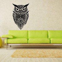Owl Bird Animal Wings Flying Vinyl Decals Wall Art Sticker Home Modern Stylish Interior Decor for Any Room Smooth and Flat Surfaces Housewares Murals Design Graphic Bedroom Living Room (4240)