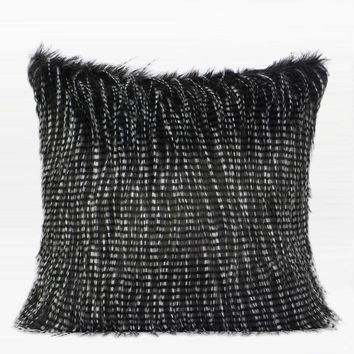 "Black and White Two Tone Faux Fur Pillow 22""X22"""