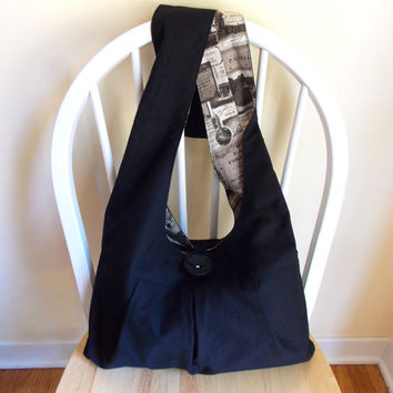 Black Hobo Bag, Sling Bag, Solid Color Bag, Pleated, French Themed Fabric, Tote Bag, Crossbody Bag