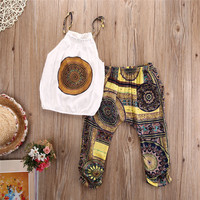 2pcs Toddler Kids Baby Girls Outfits Vest Tops+Short Pants Clothes Set Chiffon 2017 Summer Style Children Clothing