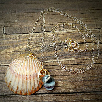 Seashell necklace, shell necklace, gold dipped necklace, mermaid necklace,  layering necklace, gold necklace, fluorite, beach necklace