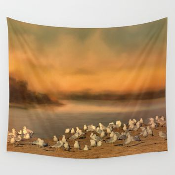Seagulls On The Beach At Sunset Wall Tapestry by Theresa Campbell D'August Art