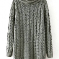 Grey Cable Knit Long Sleeve Longline Sweater