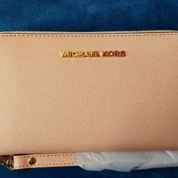 NEW MICHAEL KORS LG PHONE CASE WRISTLET/WALLET PALE PINK $108