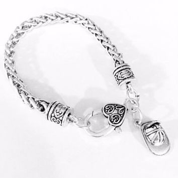 Firefighter Hat Helmet Fire Wife Mom Mother's Day Gift Charm Bracelet