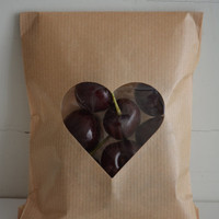 Kraft paper bag with a heart window set of 20 Natron kraft bags complete with cellophane bag --- Wedding favor bags or for a sweet table