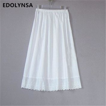 High Quality Women 100% Cotton White Solid Maxi Embroidery Half Slip With Lace Plus Size Long 55-80cm Sexy Dress Underskirt #K24