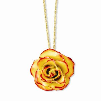 Lacquer Dipped Yellow/Red Rose w/ Gold-tone Chain