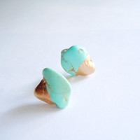 Turquoise Stud Earrings -Raw Gemstones -Gold Dipped -Minimalist Earrings -Sterling Silver Posts