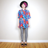 80s Deadstock Vintage Silk Shirt Floral Short Sleeve Button Down (M/L)