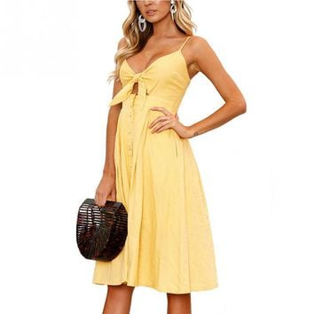 Women Ladies Sexy Summer Beach Holiday V-neck Backless Lace-up Buttons Casual Straped Dress