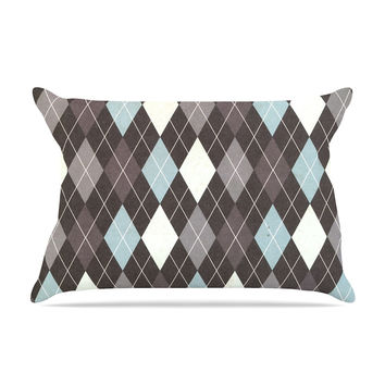 "Heidi Jennings ""Argyle"" Blue Gray Pillow Case"