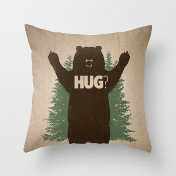 Bear Hug Throw Pillow by powerpig | Society6