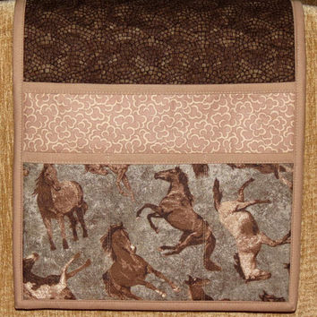 Quilted Armchair Caddy, Bedside Pockets, Remote Holder, Galloping Horses