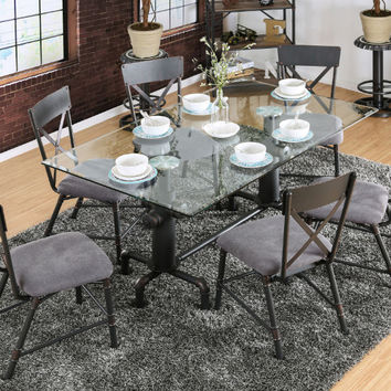 Furniture of america CM3366T-7pc 7 pc flaherty antique black frame and glass top dining table set
