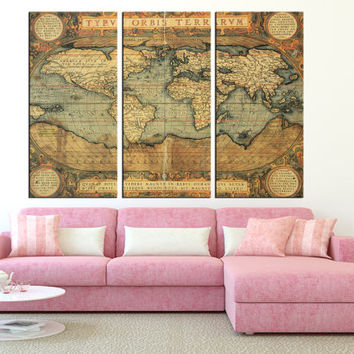 Vintage world map wall art on canvas print, Large wall Art, old World Map print, extra large wall art, map of the world wall decor t283