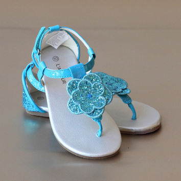 L'Amour Girls Glitter Flower Thong Sandal