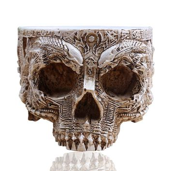 Antique Sculpture Skull Planter Garden Storage Pots Container Decoration Flower Pot For Home Decor