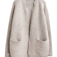 Gray Knitted Ribbed Cardigan