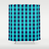 Plaid Flannel Navy Turquoise Shower Curtain by Beautiful Homes