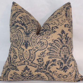 "Indigo and Tan Floral Throw Pillow Distressed Damask Medallion 17"" Linen Square Navy Blue Beige Ready Ship Cover and Insert"