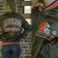 Vintage 80's Cleveland Browns NFL Chalk Line Satin Johnny Manziel Jacket