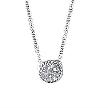 0.5CT Radiant Round Simulated Diamond - Diamond Veneer Rope Style Framed Sterling Silver Pendant 635P25064