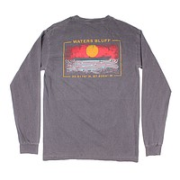Ripple of the Sun Long Sleeve Tee in Bluff Grey by Waters Bluff