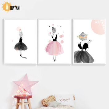 Girl Ballet Dancer Wall Art Canvas Painting Nordic Posters And Prints Wall Pictures For Kids Bedroom Baby Girl Room Home Decor