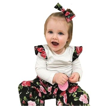Cute Baby Girl Floral Print T-shirt Toddler Floral Pants Kids Headband 3pcs Outfits Fashion Infant Clothes Set