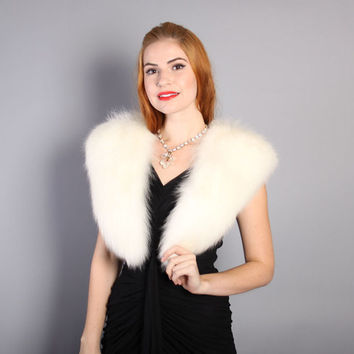 50s Pure WHITE Arctic FOX STOLE / Plush Fur Collar Bridal Shawl