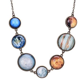 QILMILY Full Moon Necklace Double-sided Planet Handmade Sun Moon Necklace Statement Space Necklace or Bracelet