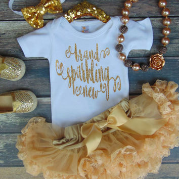 Brand Sparkling New Gold Glitter One Piece - NB Birth Announcement Shirt - Take Home Outfit - Baby Shower Gift - Ann Marie Avenue