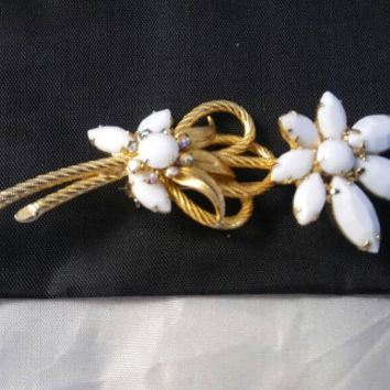 Retro Rhinestone Pin, Vintage Flower White Milk Glass Brooch, Mid Century Collectible, 1950's 1960's Jewelry