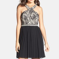 Junior Women's Way-In Lace Detail Pleated Skater Dress