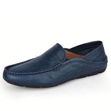 Casual Moccasin Slip On Leather Flat Shoes
