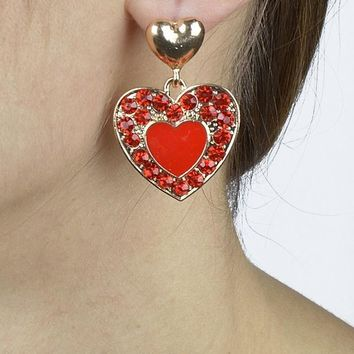 Crystal Studded Heart Shaped Dangler Earrings