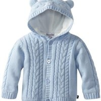 Kitestrings Baby Boys' Hooded Cardigan Sweater With Ears, Light Blue, 24 Months