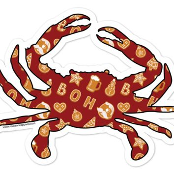 Natty Boh Christmas Cookie Crab (Red) / Sticker