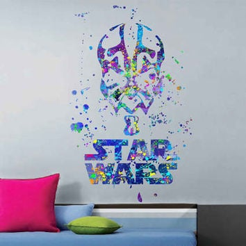 kcik1721 Full Color Wall decal poster space Watercolor paint splashes Darth Maul Star Wars children's bedroom Living