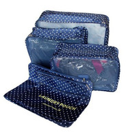 Travelling Bag 6 set travel Organizers Packing Cubes Luggage Organizers Compression Pouches Blue White Polka Dots LXB-0007