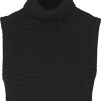Victoria Beckham Cropped chunky-knit cotton turtleneck sweater