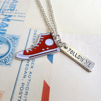 Allons-y time lord inspired geek necklace, red sneaker, doctor who inspired, tenth doctor