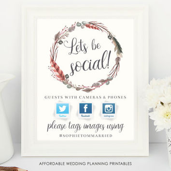Wedding Hashtag Sign, wedding sign, our wedding hashtag, social media wedding, wedding social media, Instagram Wedding Sign, rustic boho