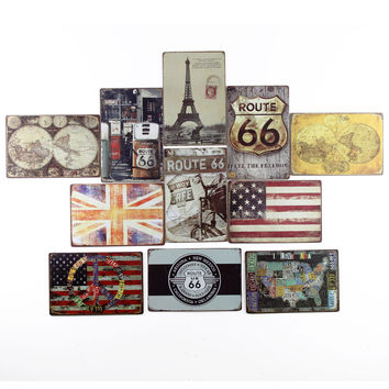 50 Shades of World Map ROute 66 Feel the Freedom Uk USA Licence Plate Tin Art Metal Poster 20x30cm
