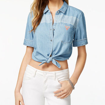 GUESS ORIGINALS Cotton Cropped Denim Shirt - Tops - Women - Macy's
