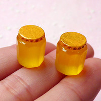 Honey Jam Bottle Cabochons (2pcs / 13mm) Kawaii DIY Dollhouse Miniature Jam Making Whimsical Kitsch Jewelry Cell Phone Deco Decoden FCAB237