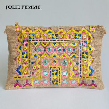 JOLIE FEMME Envelope Clutch Vanity Woven Bags Handmade Double Face Ethnic Embroidery Day Purse With Cell Makeup Cosmetic Bag Sac