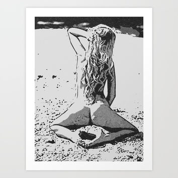 Perfect blonde girl posing naughty, nude on beach, black and white Art Print by Casemiro Arts - Peter Reiss