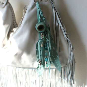 Gemstones & turquoise leather art bag charm key charm  tassel primitive tribal leather amulet natural beads stones for birthday